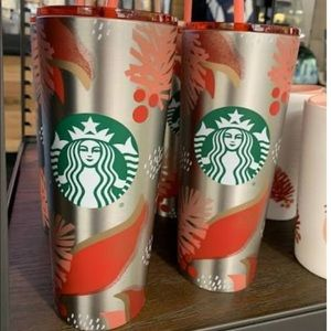 NEW🌺Silver Stainless 24oz.Tumbler From Starbucks